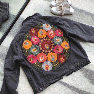 NWT PREMIUM Boho Embroidered Oversized Jean Jacket